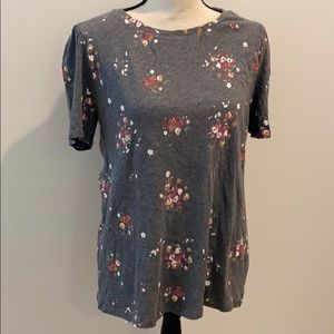 LOFT floral top with gathered sleeves